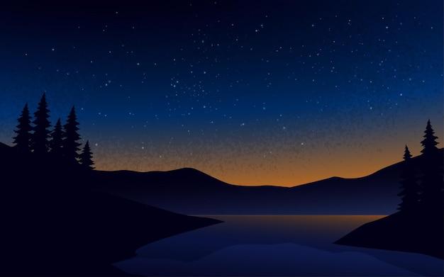 별이 빛나는 하늘과 평화로운 밤 풍경 그림