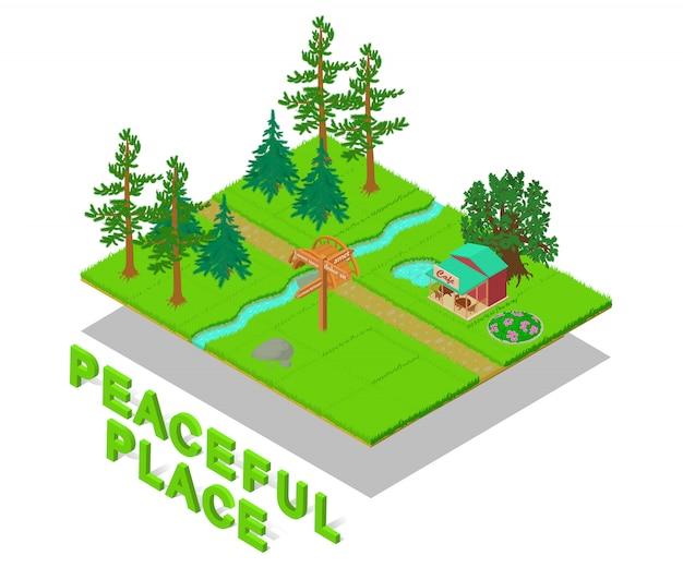 Peaceful place concept scene