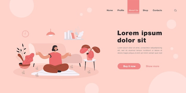 Peaceful woman doing yoga at home landing page in flat style