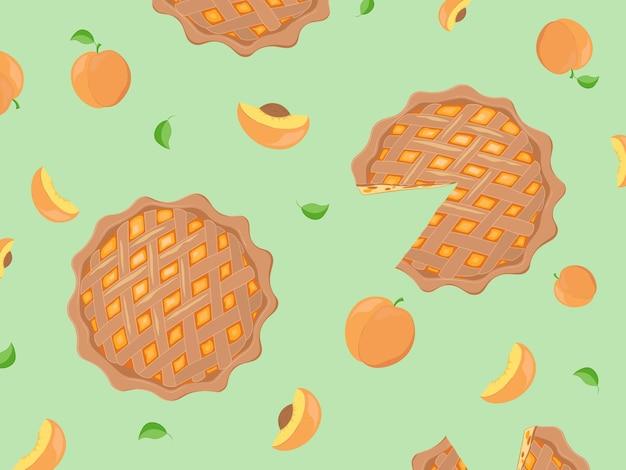 Персик и пирог бесшовные модели. обои, принт, современный текстильный дизайн, оберточная бумага
