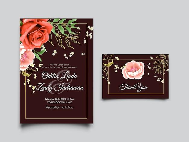 桃と赤いバラの水彩結婚式の招待カード
