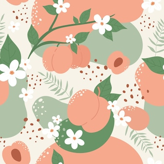 Peach or apricot fruit seamless pattern design set summer peachy trendy botany texture