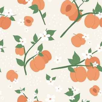 Peach or apricot fruit seamless pattern design