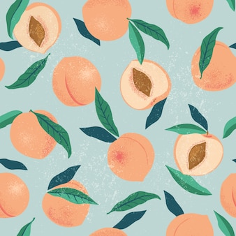 Peach or apricot seamless pattern.