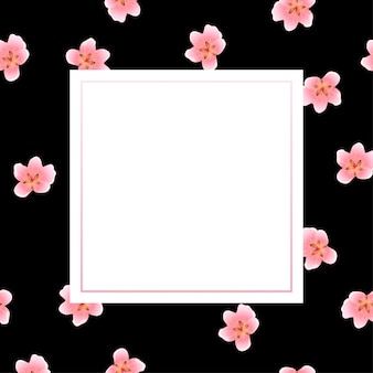 Peach blossom frame on black background