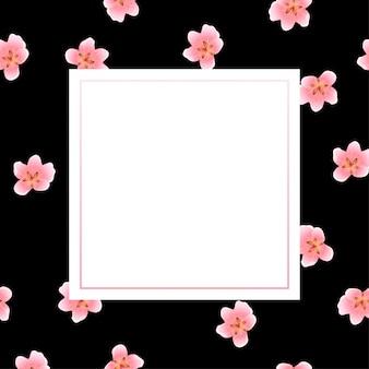 黒の背景に桃の花フレーム