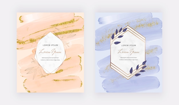 Peach and blue brush stroke watercolor and gold sparkle glitter confetti design cards with marble geometric frames.