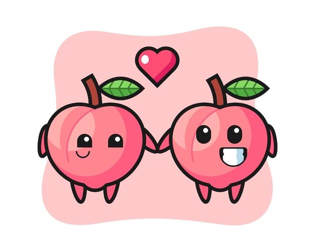 恋に落ちるジェスチャー、tシャツのかわいいスタイルのデザインと桃の漫画のキャラクターのカップル