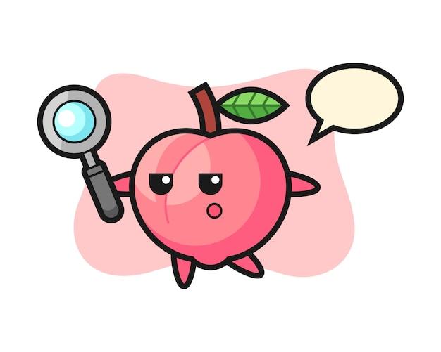 拡大鏡で検索する桃の漫画のキャラクター、tシャツのかわいいスタイルデザイン