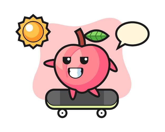 桃のキャラクターイラストがスケートボードに乗って、tシャツのかわいいスタイルのデザイン
