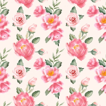 Peach floral watercolor seamless pattern