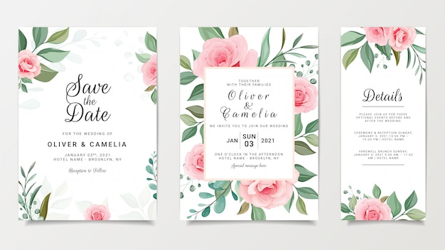 Peach floral wedding invitation card template set with flowers frame decoration
