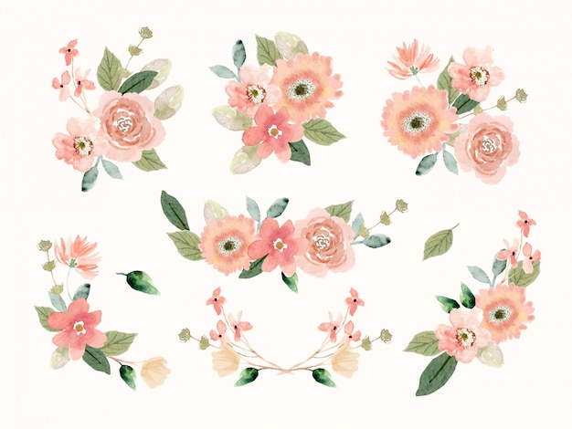 Peach flower arrangement collection in watercolor style