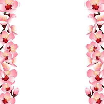 Peach flower blossom border