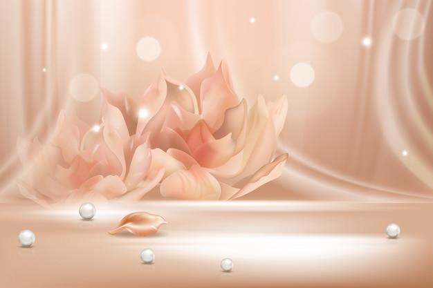 桃の花グラデーションソフト抽象的な背景シーンリアルなイラストのコンセプト。