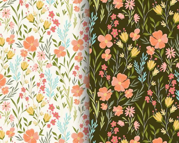Peach flowers garden pattern