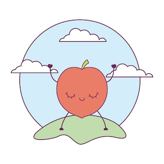 Peach fruit kawaii in landscape