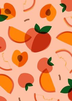 Персиковый фрукт в стиле мемфис