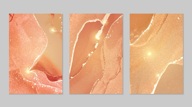 Peach and gold marble abstract textures
