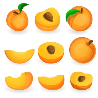 Peach icon set, cartoon style