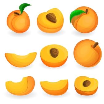 Персик набор иконок, мультяшном стиле