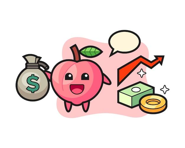 お金の袋、tシャツのかわいいスタイルのデザインを保持している桃のイラスト漫画
