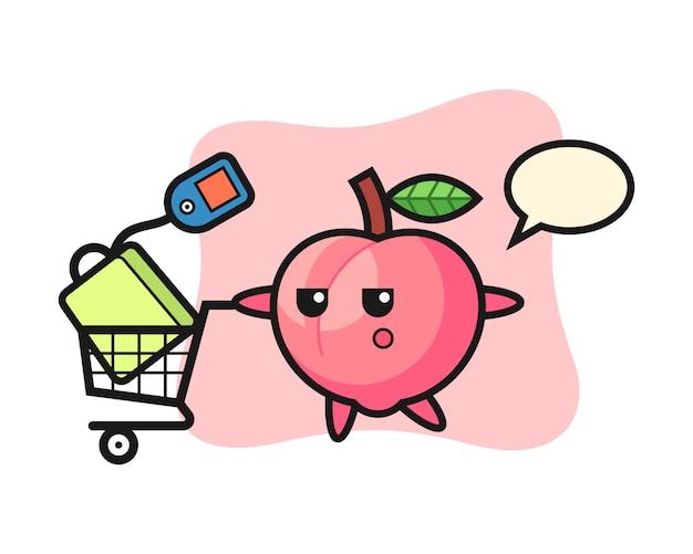 ショッピングカート、かわいいスタイルのデザインのtシャツの桃イラスト漫画 Premiumベクター