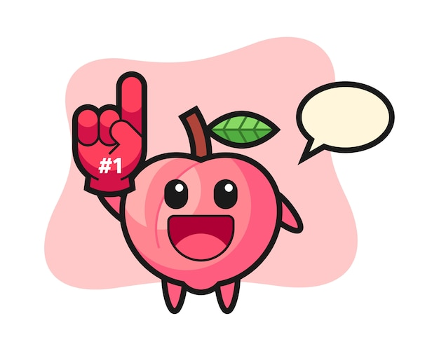 番号1のファンの手袋、tシャツのかわいいスタイルデザインの桃イラスト漫画