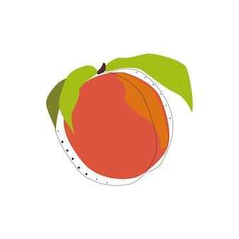 桃の孤立したベクトルイラスト。フラットで素朴なデザイン。夏の要素。