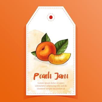 Peach jam tag for jar of peach confiture, jam or marmalade.