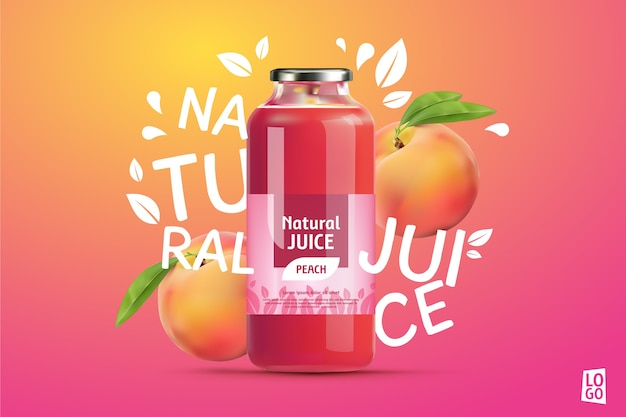 Peach juice ad with gradients and lettering