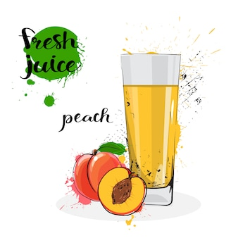 Peach juice fresh hand drawn watercolor fruit and glass on white background