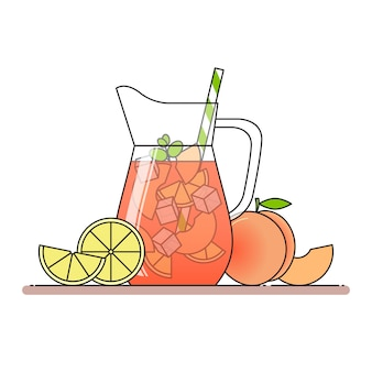 Peach lemonade with fruit slices