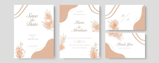 桃の豪華な結婚式の招待カードのベクトル。水彩の赤面とゴールドのラインテクスチャでカバーデザインを招待