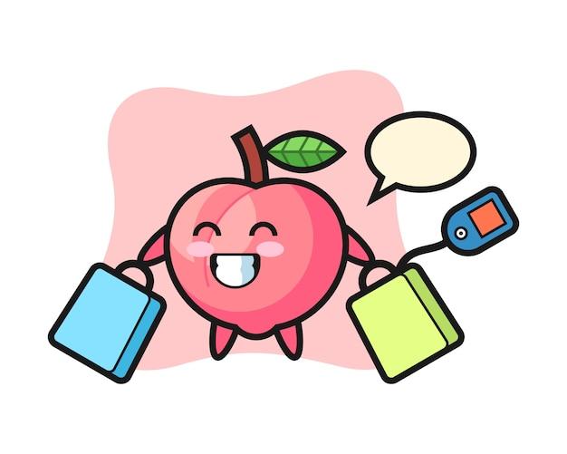 ショッピングバッグ、tシャツのかわいいスタイルのデザインを保持している桃のマスコット漫画
