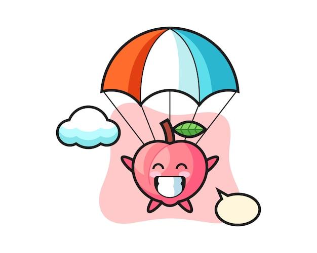 桃のマスコット漫画は幸せなジェスチャー、tシャツのかわいいスタイルデザインでスカイダイビング