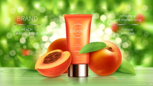 現実的な桃やアプリコットの化粧品