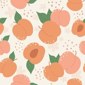 복숭아 또는 살구 과일 원활한 패턴 디자인 설정 여름 복숭아 유행 식물학 텍스처