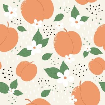 Персик или абрикос фруктовый бесшовный фон набор летних персиковых модных ботанических текстур Premium векторы