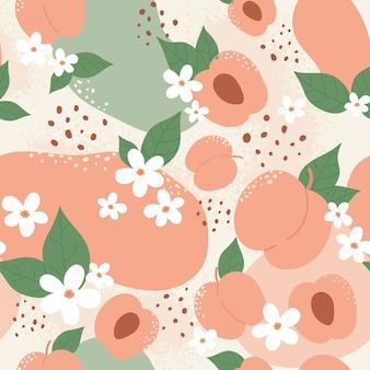 桃やアプリコットフルーツのシームレスなパターンデザインは、夏の桃の流行の植物学のテクスチャを設定します