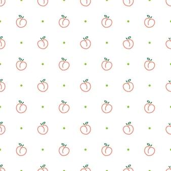 복숭아 개요 원활한 패턴 템플릿 배경