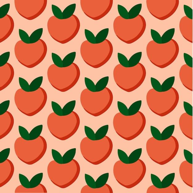 Персиковый узор фона в социальных сетях с фруктами, векторные иллюстрации