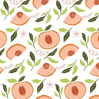 桃柄のデザイン 無料ベクター
