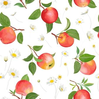 Персиковый узор с ромашками тропических фруктов оставляет фон