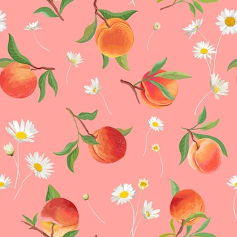 Peach pattern with daisy, tropic fruits, leaves, flowers background. vector seamless texture illustration in watercolor style for summer cover, tropical wallpaper, vintage backdrop, wedding invitation