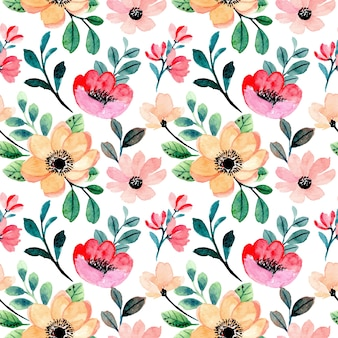 Peach pink floral and green leaves watercolor seamless pattern