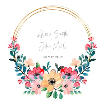 Peach pink floral wreath watercolor with golden frame