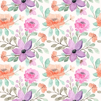 Peach, purple and pink floral watercolor seamless pattern