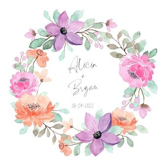 Peach, purple and pink floral wreath, wedding invitation