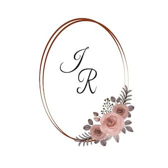 Акварельная рамка с персиковыми розами для поздравительной открытки и свадебного приглашения